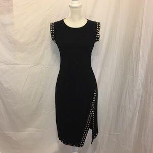 Joseph Ribkoff Studded Sleeveless Dress Slit